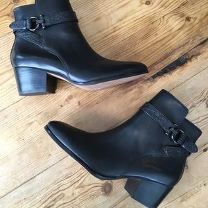 Coach Paulina Black Leather Ankle Boots